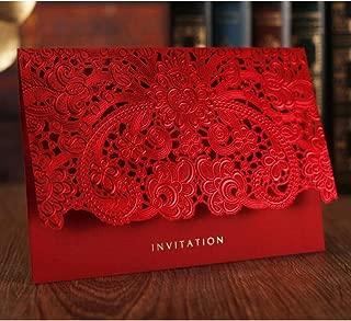 WOMHOPE 50 Pcs - Elegance Lace Emboss Laser Cut Card Wedding Invitation Party Folding Invitations Cards Birthday Invitations Cards Wedding Favors Party Favors (Red + White Envelope (Set of 50 pcs))