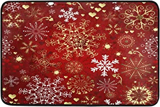 Christmas Decorative Doormat Home Decor Luxurious Gold White Snowflakes Welcome Indoor Outdoor Entrance Bathroom Floor Mats Non Slip Washable Winter Hoilday Pet Food Mat, 23.6 x 15.7 inch