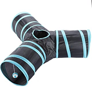 3 Way Cat Tube Kitty Tunnel Bored Cat Pet Toys with Peek Hole and Toy Ball for Cat