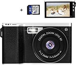 Deeteck Compact Digital Video Camera,24MP HD Photo Cameras for YouTube,Mini Camcorders 8X Zoom Gift for Teens,Kids,Adults,Photography,Vlogging,Travel,Camping,Recording with Wide Angle Len & 16GB Card
