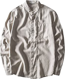 SemiAugust(セミオーガスト)リネン メンズ シャツ 長袖 7分袖 綿麻 リネンシャツ スリム ストレッチ 薄手 カジュアルシャツ 春物 おしゃれ ボタンダウンシャツ 無地