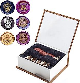 Cachet de Cire Sceau 7 Pièce Personnalisés pour Harry Potter et la Boîtecadeau de Fête de Poudlard 6 Têtes en Laiton de Ta...