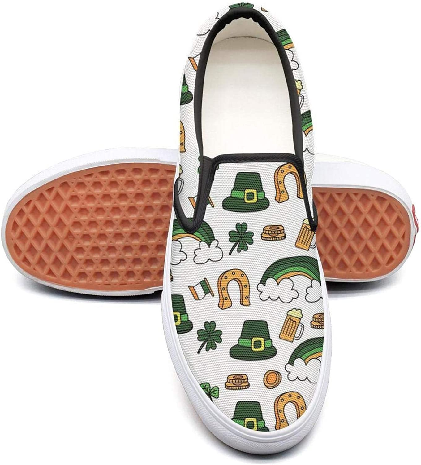 St Patrick's Day Hat Shamrock Beer Rainbow Mens Casual Slip on Canvas Sneakers Low Top Athletic Sneakers