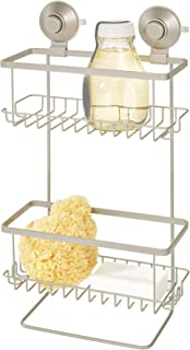 "iDesign Everett Metal Push Lock Suction Shower Caddy, Bath Organizer Holds Shampoo, Razors, Conditioner, Soap, 9.1"" x 4.53..."