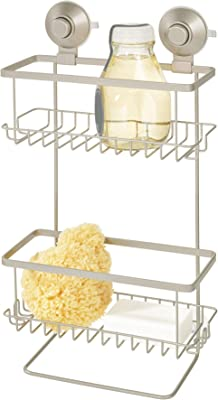 "iDesign Everett Metal Push Lock Suction Shower Caddy, Bath Organizer Holds Shampoo, Razors , Conditioner, Soap, 9.1"" x 4.53"" x 3.63"", Satin"