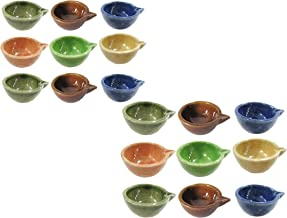 muccasacra Ready to Use Traditional Reusable Multicolour Festive Decorative Ceramic Table Diya Set (Pack of 18 Pcs)