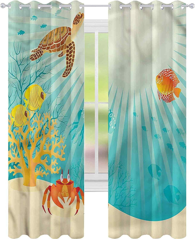 Window Curtain Brand Cheap Sale Venue Drape Marine Tropical Animals Cartoon W52 B x L72 Nippon regular agency
