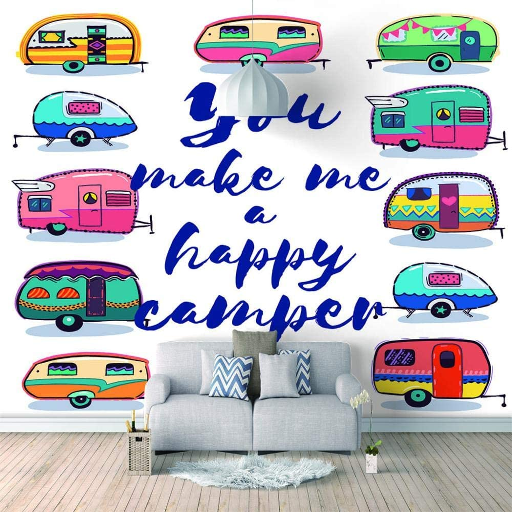 specialty shop Max 60% OFF Photo Wallpaper Color Cartoon RV Wall Mural Living Art for Decal