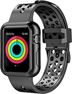 Pobon Compatible for Series 5 / Series 4 Apple Watch 40mm Band Case, Shockproof Protective Bumper Case with Soft Silicone Sport Strap for Apple Watch 40mm Series 5/4