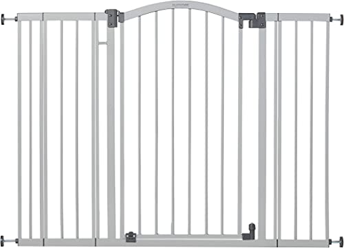 """Summer Extra Tall & Wide Safety Baby Gate, Cool Gray Metal Frame – 38"""" Tall, Fits Openings 29.5"""" to 53"""" Wide, Baby an..."""