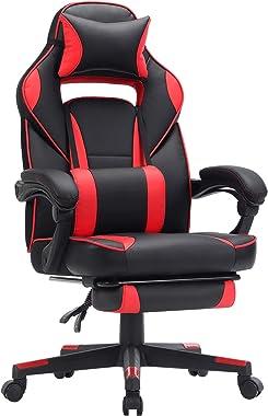 SONGMICS Fauteuil gamer, Chaise gaming, Siège de bureau réglable, avec repose-pieds télescopique, ergonomique, mécanisme basc