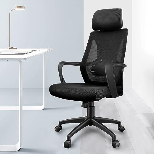 Bürostuhl Schreibtischstuhl – YONISEE Ergonomischer Burostuhl mit Armlehne, Verstellbarer Kopfstütze, Höhenverstellun Wippfunktion Chefsessel…