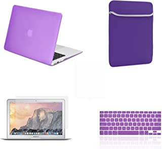 """TOP CASE - 4 in 1 Essential Bundle Rubberized Hard Case, Keyboard Cover, Screen Protector, Sleeve Bag Compatible MacBook Air 13"""" Model: A1466 & A1369 (Older Version, Release 2010-2017) - Purple"""