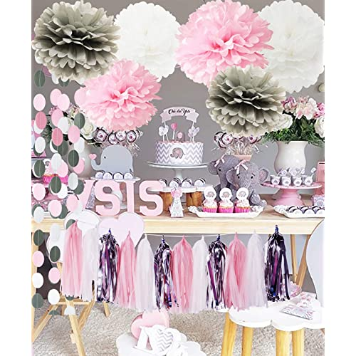 Pink and Gray Baby Shower Decorations Amazon.com