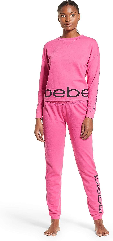 bebe Womens Long Sleeve Shirt and Skinny Leg Pants Lounge Pajama Sleep Set