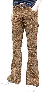 a zampa fondo campana motivo cachemire pantaloni velluto a coste Hippie Mod indie Jeans Retro Vintage Pantaloni MARRONCINO