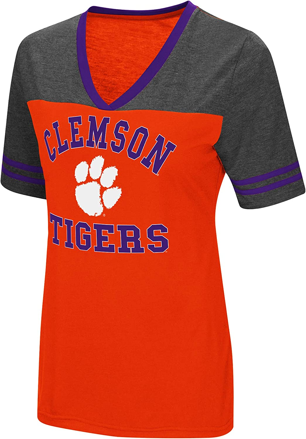 Colosseum Ladies Clemson Tigers Smaller Fit Whole Package Synthetic V Neck T Shirt