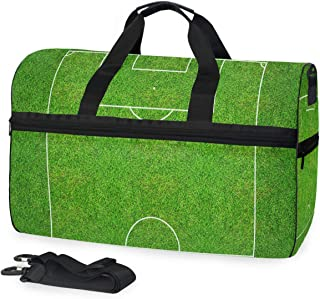 Mens Womens Duffle Bag Half Of Football Field Or Soccer Casual Fashion Luggage Holdall Bag with Shoes Compartment 45L