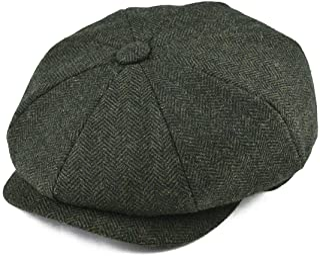 BOTVELA Men s 8 Piece Wool Blend Newsboy Flat Cap Herringbone Pattern in  Classic 5 Colors 4b96c00154f1