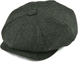 BOTVELA Men's 8 Piece Wool Blend Newsboy Flat Cap Herringbone Pattern in Classic 5 Colors