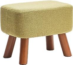 ZTCWS Vierkant Ottomaanse Met Massief Houten Been, Katoen En Linnen Materiaal, Gestoffeerd Padded Side Table Seat, Vanity ...