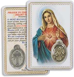 Novena Prayer to the Immaculate Heart of Mary Laminated Prayer Card with Medal Blessed By Pope Francis