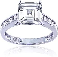 Sterling Silver Rhodium 8mm Asscher Cut Cubic Zirconia Engagement Ring