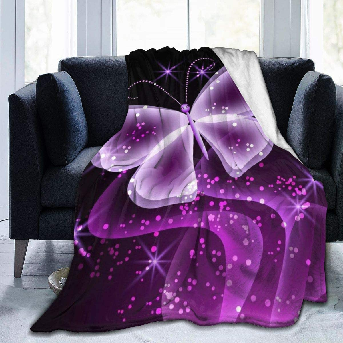 Butterfly Blanket Purple Printed Indefinitely Limited price sale Lightweight Blankets