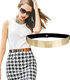 Fashion Womens Gold Mirror Stretch Waist Dress Belt