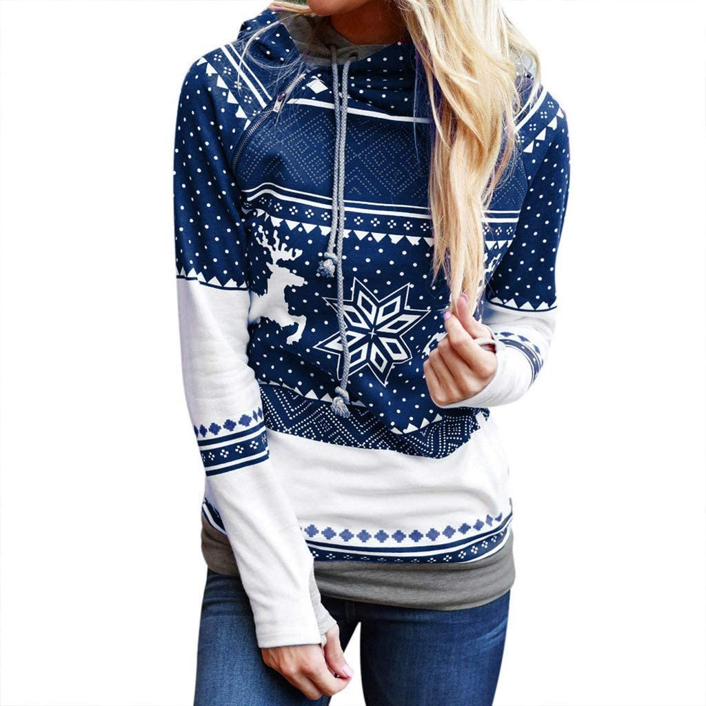 Sales for sale Women Long Sleeve Reindeer Printed Recommended Hooded Christmas Sweat Double