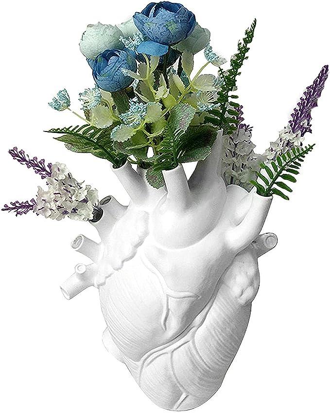 Heart Vase, Flower Plant Ornament Dried Flowers Containrs Flower Pot Art Vases Body Sculpture