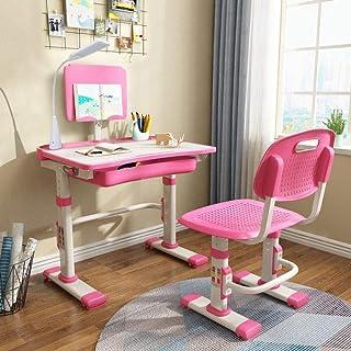 LVYUAN Height Adjustable Children's Desk and Chair Set, Spacious Storage Drawer, with Adjustable Tilted Desktop, Bookstan...