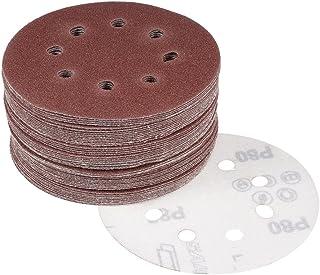 uxcell サンディングディスク 紙やすり サンドペーパー 8穴あき 外径125mm 80グリット フロッキングサンドペーパー 50枚入
