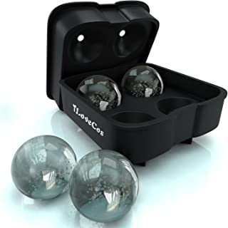 iLoveCos JP(アイラブコス) (アイラブコス)iラブコス JP 4個大ボール製氷皿 シリコーン製 フタ付き ブラック