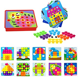Soyee Button Art Early Learning Toys Color Matching Mosaic Pegboard Set for 3+ Year Old Boys & Girls Brain Training Games for Kids