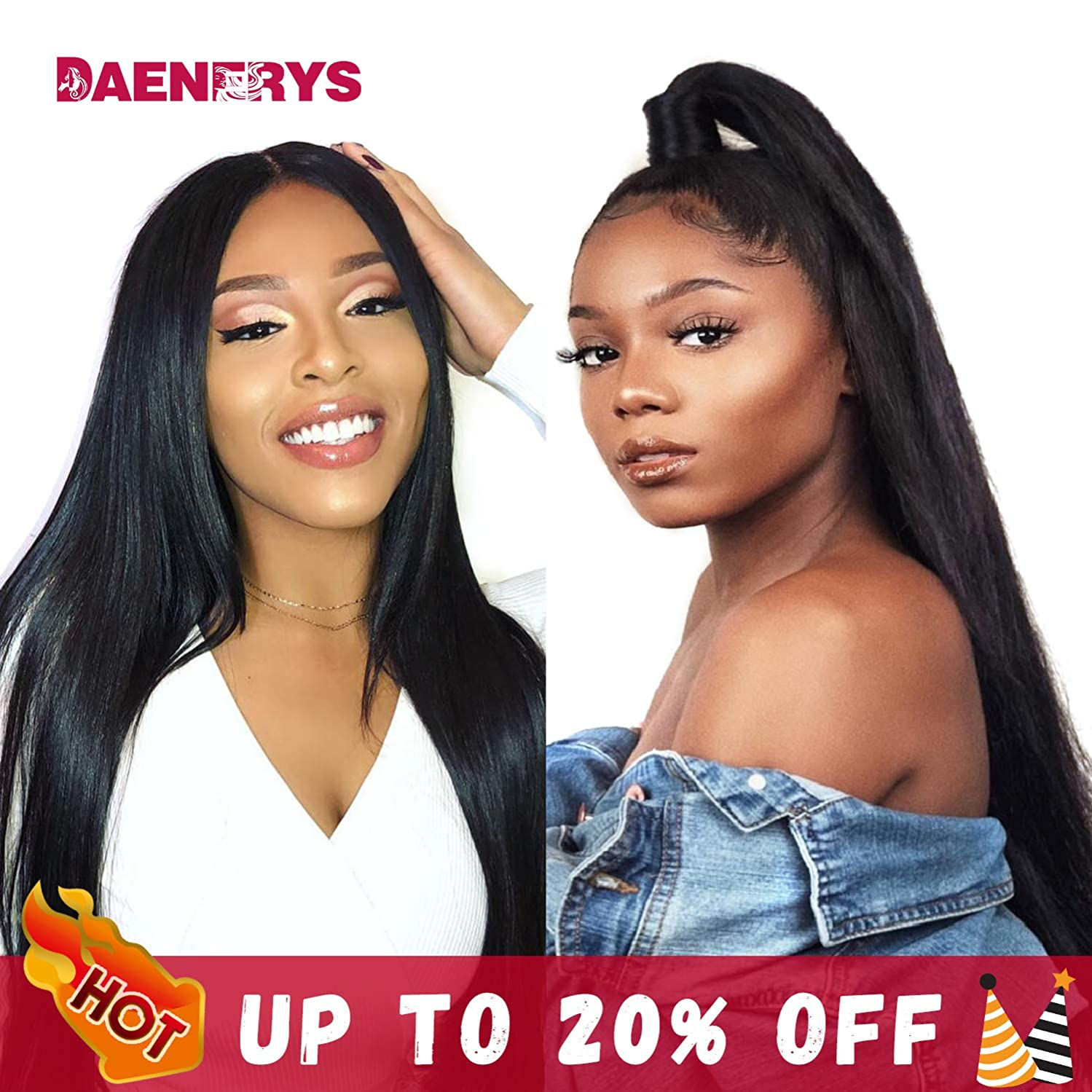360 Lace Front Human Hair Wigs 360 Lace Frontal Wig with Pre Plucked Baby Hair Straight Human Hair Wig 150% Density (Straight 20inch)