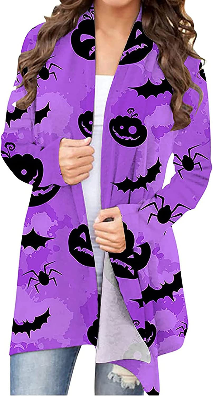 Black Cat and Pumpkin Pattern Ghost Funny Long Sleeve Open Front Cardigan Sweater Bat and Witch Print Ugly Cute Shirt