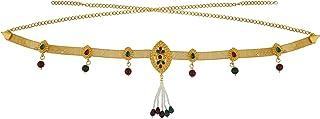Memoir Brass Gold plated, Marquoise Navette Shaped, Kundan, Meenakari, Faux Ruby, Emerald, Pearls, Traditional Kamar band,...