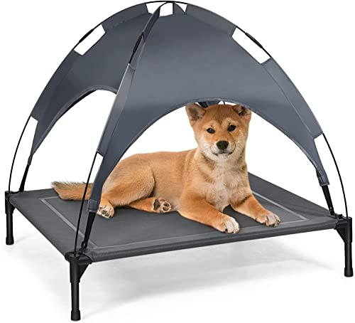 high quality Giantex Elevated 2021 Dog Bed with Removable Canopy, Portable Raised wholesale Pet Cot Cooling Dog Bed for Camping Beach Lawn, Keep Dogs Cats Cool in Summer, Breathable Fabric Steel Frame, Easy Assembly online