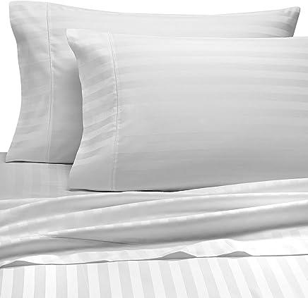 Wamsutta Damask Stripe 500-Thread-Count PimaCott Queen Sheet Set in White