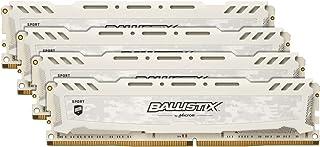 Crucial Ballistix Sport LT BLS4K16G4D26BFSC 2666 MHz, DDR4, DRAM, Memoria Gamer Kit para ordenadores de sobremesa, 64 GB (16 GB x 4), CL16 (Blanco)