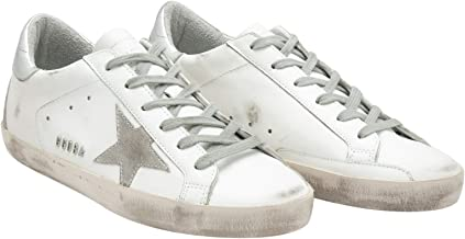 Golden Goose Deluxe Brand Mens White/Silver Leather Superstar Sneakers GCOMS590.W77-42 Color: White