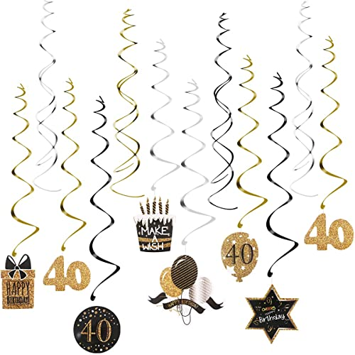 Unomor 40th Birthday Decorations Party Supplies Included Hanging Swirls 15PCS Celebrate 40