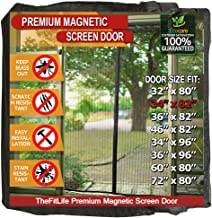 TheFitLife Magnetic Screen Door - Heavy Duty Mesh Curtain with Full Frame Hook and Loop Powerful Magnets that Snap Shut Automatically - Black 36