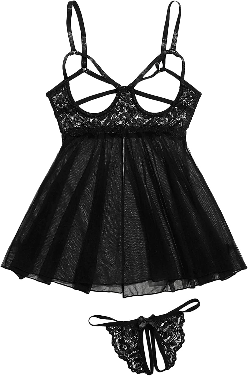 SweatyRocks Women's Contrast Ranking TOP4 Lace Cut NEW before selling ☆ Slips Out Lingerie an Mesh