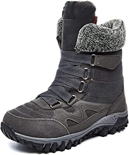 Winter Women Snow Boots Cow Suede Warm Snow Shoes Full Fur Plush Lined Long Boots Thick Bottom,Grey,9