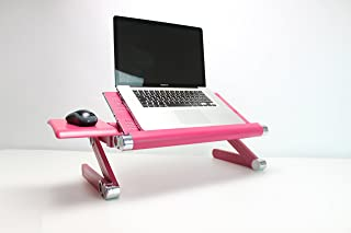 BackPainHelp Portable Adjustable Posture Laptop Stand/Desk/Table for Bed, Alluminium/Zinc - Folding Lap Desk Breakfast TV Tray for Sofa Couch, Standing Desk Computer Riser with Mouse Pad (Pink)