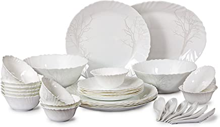 Cello Imperial Winter Frost Opalware Dinner Set, 33 Pieces, White