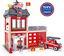 Hape Fire Station Playset| Wooden Dollhouse Kid's Toy, Stimulates Key Motor Skills and Promotes Team Play (E3023)