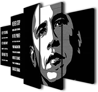 Susu Art - 5 Pcs Barack Obama Quotes Never Stop Believing Canvas Giclee Print Painting Picture Wall Art Home Decor Gifts (with Framed, Size 1: 8x14inx2pcs, 8x18inx2pcs, 8x22inx1pc)